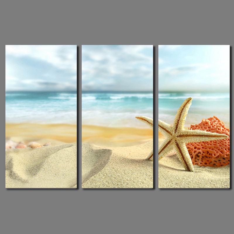 2016 Fashion New Promotion 3pcs Decoration The beach Canvas Painting on wall Hanging Combinat