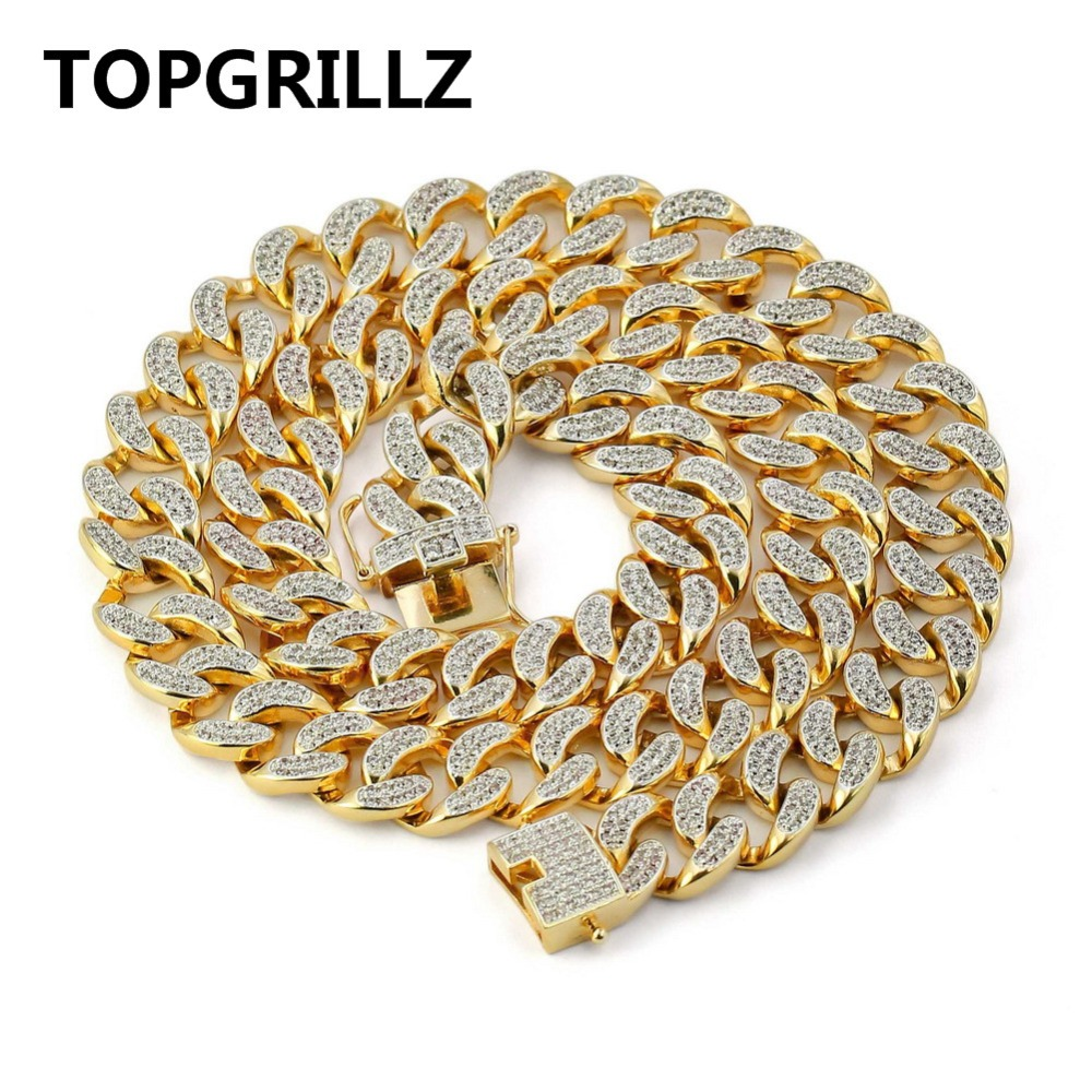 TOPGRILLZ Hip Hop Cuban Chain Necklace Micro Pave CZ Stones All Iced Out 14 mm 18202430 Available Necklaces for Men цена