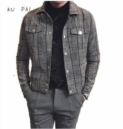 2017 new autumn coat male Korean version of the Slim lattice short jacket men trendy fashion young men's jacket