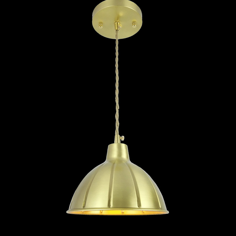 D180mm brass bell copper cone lampshade fabric wire pendant lamp fixture brass lighting for Cafe Restaurant Ceiling Room LED