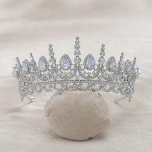 Noiva de Cristal Strass Tiara de Casamento Cubic Zircon CZ Nupcial Rainha Princesa Pageant Partido Crown Das Damas de honra