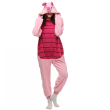 Halloween Party Costume Piglet Pink Pig Onesie Pajamas Costume Unisex Adult One-piece Sleepwear Onesie Tops Party Animal Cosplay