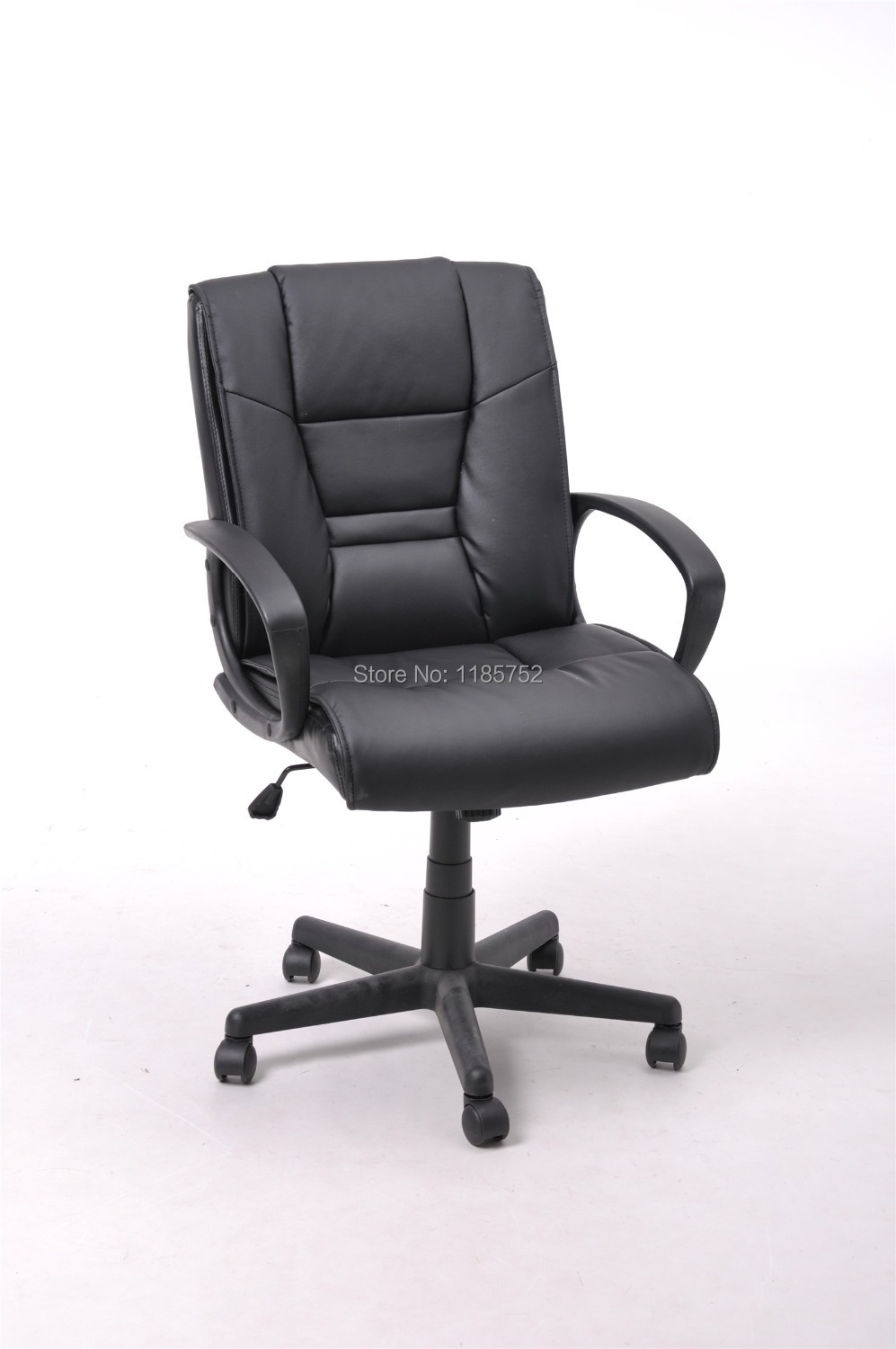 Brand New High Quality Black Pu Leather Metal Lift Chair Office Chair Computer Chair With Arms Swivel Chair Office Furniture In Office Chairs From