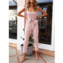 2019 Women Sexy Ruffle Strap Jumpsuit Summer Casual Square Neck Backless Jumpsuit Solid Lace Up Pencil Pants Playsuit Overalls solid ruffle cami jumpsuit