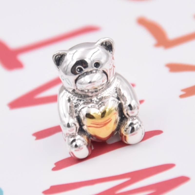 New 925 Sterling Silver Animal Bead Charm Cute Cartoon Bear With Gold Color Heart Beads Fit Pandora Bracelet Bangle DIY JewelryNew 925 Sterling Silver Animal Bead Charm Cute Cartoon Bear With Gold Color Heart Beads Fit Pandora Bracelet Bangle DIY Jewelry