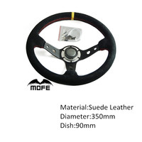 SPECIAL OFFER Original Logo Red Stitch Suede Leather Deep Dish 350mm Drifting Steering Wheel For Racing Sport Car
