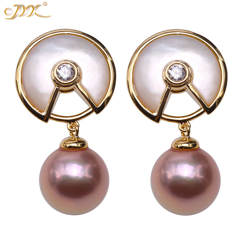 JYX Charming purple Pearl Earrings Gorgeous Natural Freshwater Genuine Pearl 10mm Round Purple Freshwater Pearl Earrings womenJYX Charming purple Pearl Earrings Gorgeous Natural Freshwater Genuine Pearl 10mm Round Purple Freshwater Pearl Earrings women