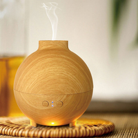 Wooden Grain Ultrasonic Air Humidifier LED Light Essential Oil Aroma Diffuser Aromatherapy Home Office Mist Maker
