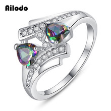 Ailodo Colorful CZ Double Heart Rings For Women Fashion Silver Color Engagement Wedding Crystal Couple Jewelry Gift LD085