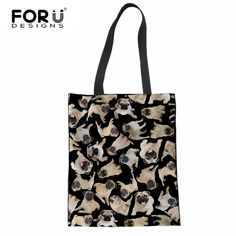 FORUDESIGNS Cute 3D Pug Dog Print Women Reusable Cotton Shopping Bags  Casual Female Shoulder Bags Large Capacity Linen Tote Bags-in Shopping Bags  from ... aa925d8493679