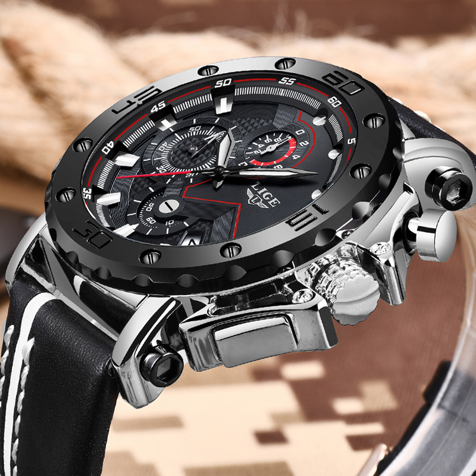 HTB1S7VyaIvrK1Rjy0Feq6ATmVXa3 2020LIGE New Fashion Mens Watches Top Brand Luxury Big Dial Military Quartz Watch Leather Waterproof Sport Chronograph Watch Men
