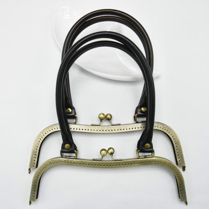 PU Leather Handle Carved Edge M Shape 27cm Big Size Women Clutch Bag Metal Clasp Female Purse Frame 2pcs/lot