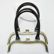Puレザーハンドル彫エッジm形状 27 センチメートルビッグサイズ女性クラッチバッグ金属クラスプ女性財布フレーム 2 ピース/ロット