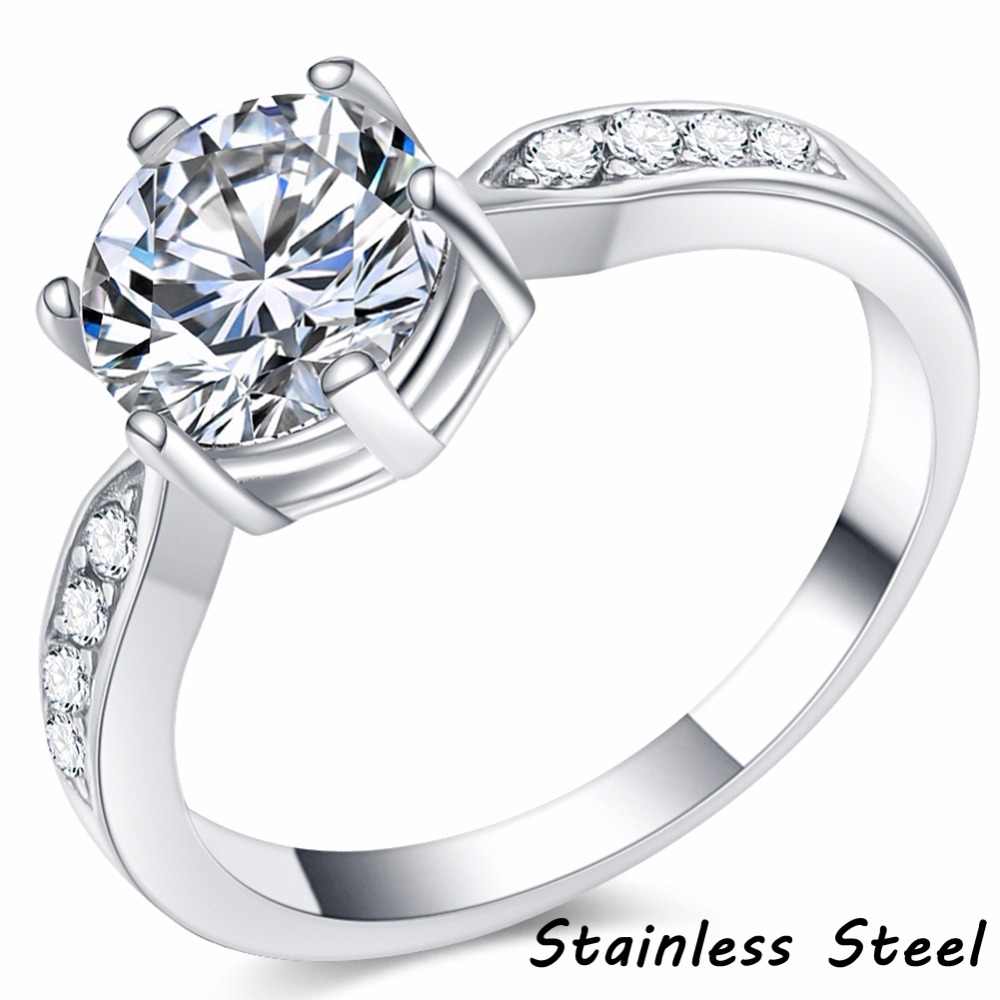 Size 4-12 Stainless Steel Classical Solitaire Engagement Ring Wedding Bridal Halo Proposal Promise Anniversary Birthday Cocktail