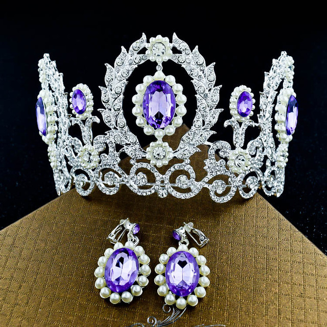 Magnificent Purple Crystal Queen Princess Crown Tiaras Fashion Pearl Big Rhinestone Diadem For Women Wedding Hair