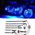 6 UNIDS Resplandor Marco Multi-Color RGB LED Tiras de Luces de Neón del Coche de La Motocicleta Chopper Kit Impermeable Sonido Activo la Luz del flash