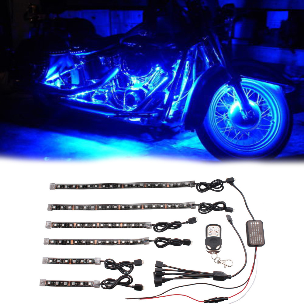 6PCS RGB LED Frame Glow Multi Color Lights Car Motorcycle
