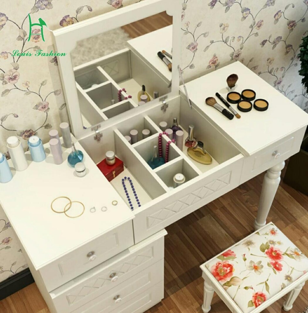 US $332.0 |Multi function white scable contracted morden dressing table of  small family bedroom dresser mini flip dresse-in Dressers from Furniture on  ...