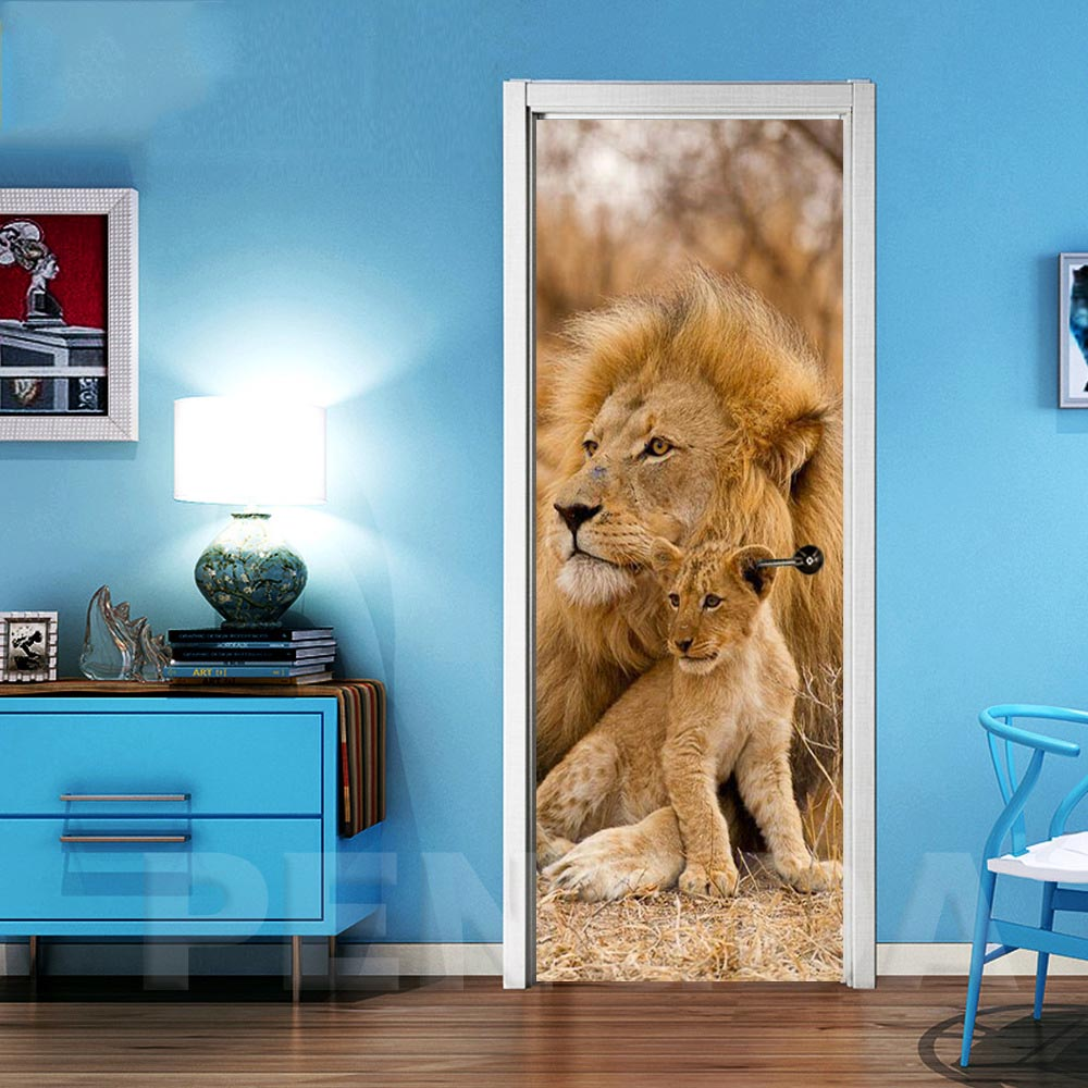 DIY Renovation Mural Waterproof Animal Lion Canvas Print Decor Sticker Self Adhesive Bedroom Door Art Picture New Home Design