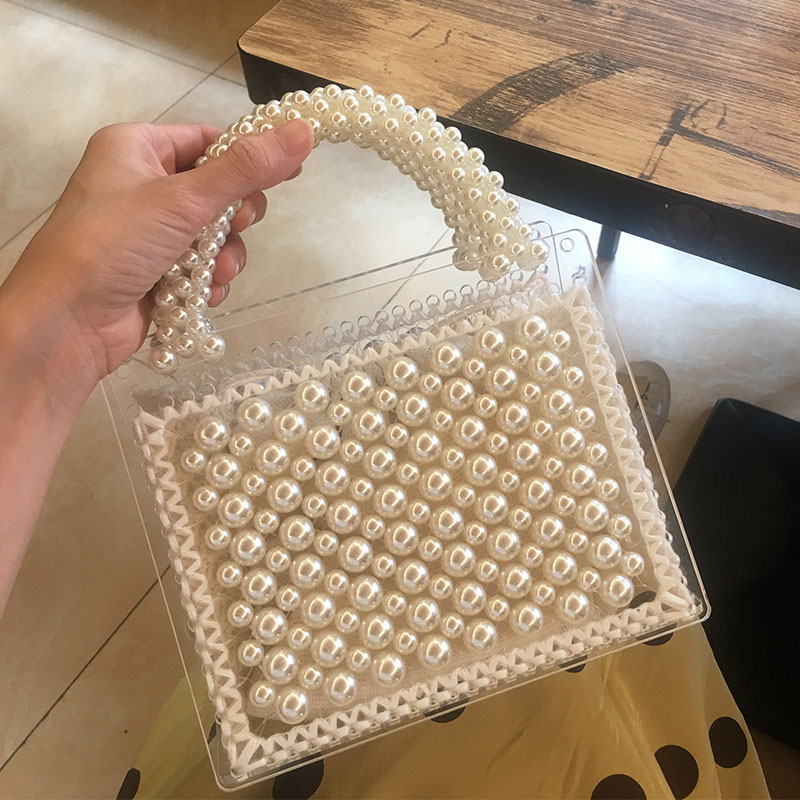 Wool transparent Beaded Bag Handmade Woven Pearl Bag For Women Female Causal Cute Crystal Tote Bag Ladies Handbag Luxury Brand