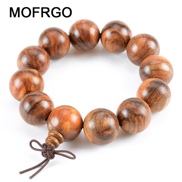 Mofrgo Simple Natural Fragrance Wood Bead Bracelet Vintage Chinese Style Wooden Chakra Meditation Beads Bracelets For