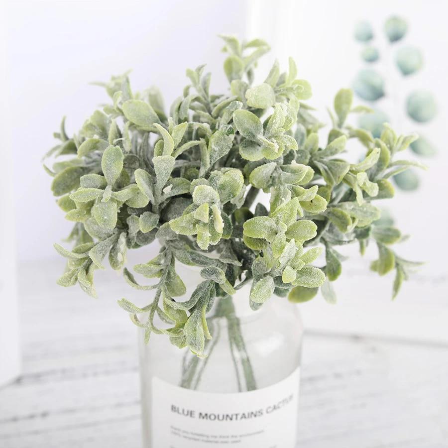 6 Pcs Plastic Artificial Flowers Fake Eucalyptus Leaves White Small Bouquet Diy Accessories Faux Plants Wedding Home Decoration Artificial Dried Flowers Aliexpress