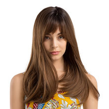 Women Ombre Brown Long Straight Wig with Bang Synthetic Fiber Cosplay Party Wigs JIU55(China)