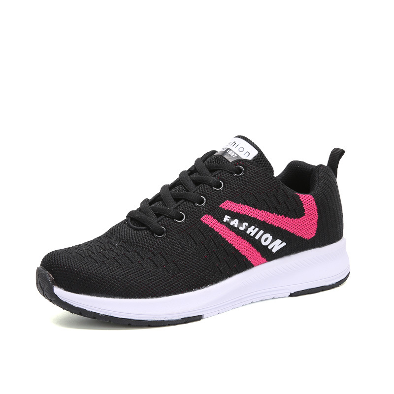Jogging Shoes Womens Black Sneakers Running Shoes 2018 Flying Line Ladies Shoes Sports Female Gumshoes