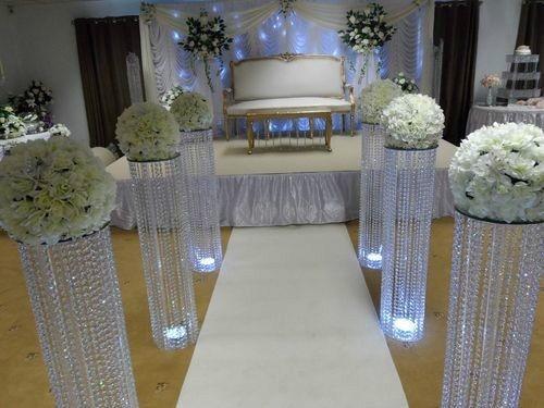 LED 빛 / 웨딩 기둥 / 호텔 장식 홈 장식 웨딩 플라워 스탠드와 함께 10pcs / lot 크리스탈 테이블 중심