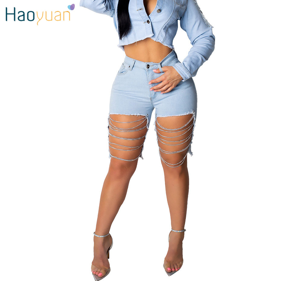 HAOYUAN Sexy Denim Shorts Women Stretch 2019 Fashion Holes High Waist Streetwear Plus Size Summer Hollow Cut Out Jeans Shorts