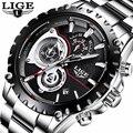 Часы LIGE мужские  модные  водонепроницаемые  из нержавеющей стали