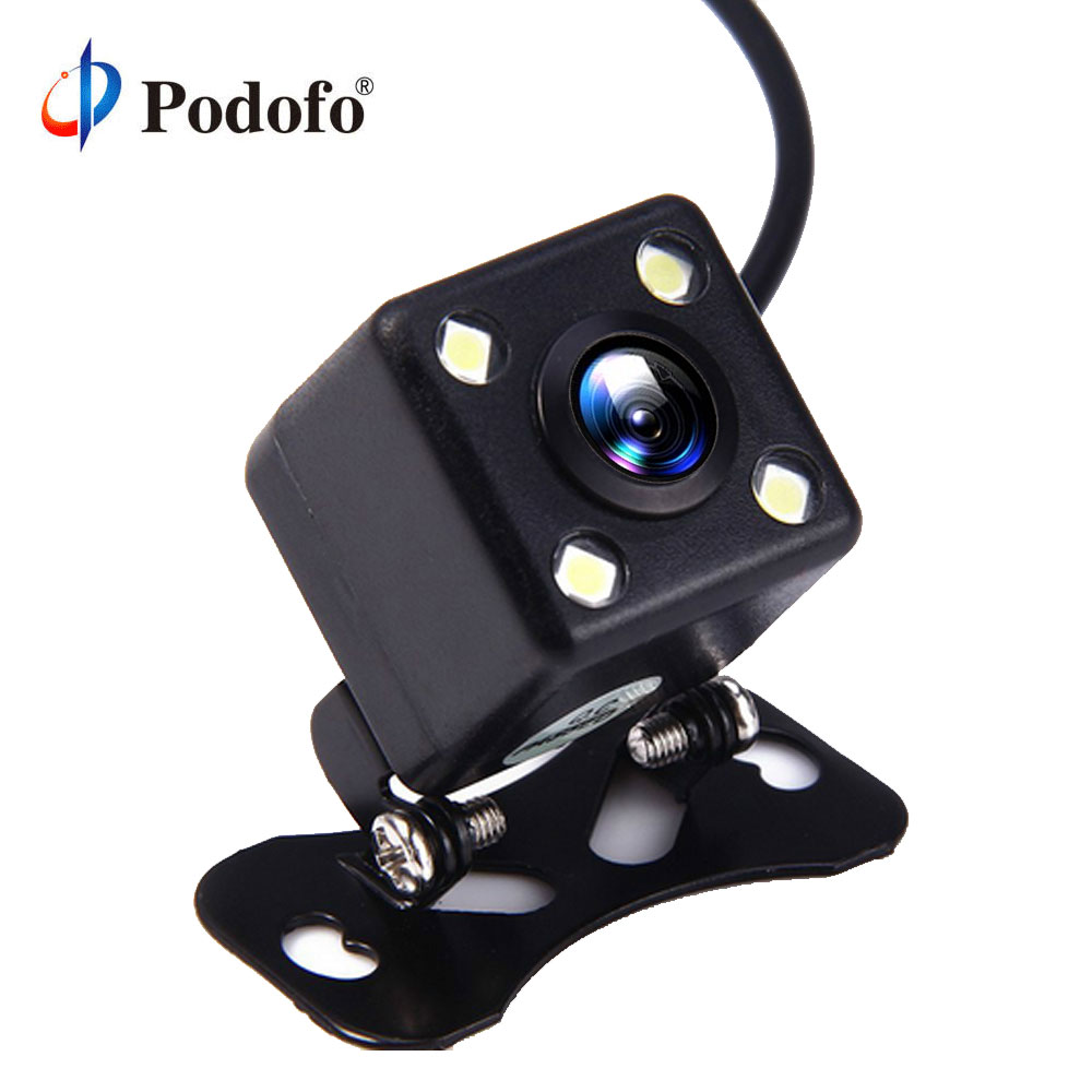 Podofo Reverse Camera 4 Led Lamps HD Car Rear View Camera Wide View Angle Reverse Parking Assistance Backup Cameras Night Vision eunavi 8 led night vision car rear view camera universal backup parking camera waterproof shockproof wide angle hd color image
