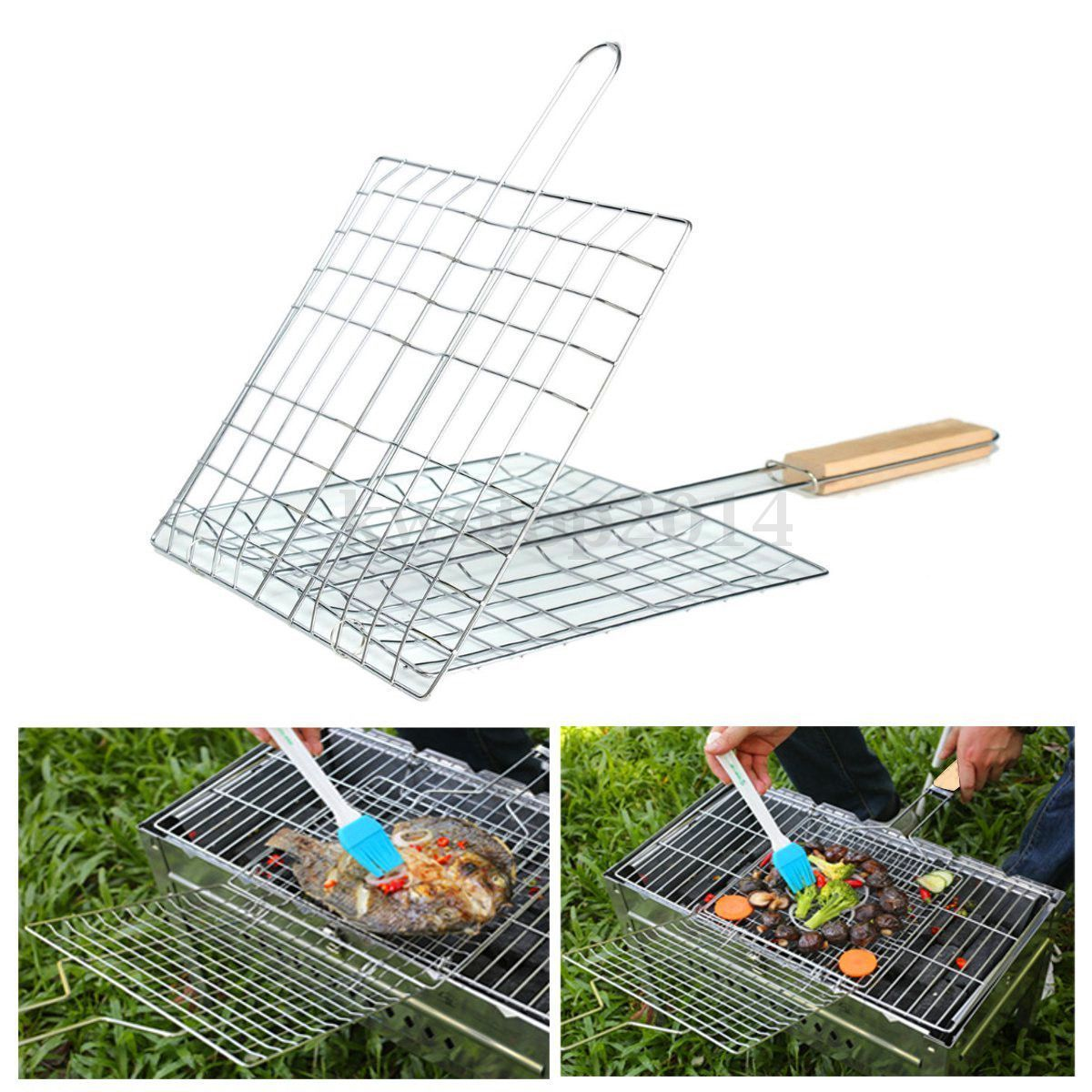 Bbq Tool Grilling Basket Grill Bbq Net Wooden Handle Steak