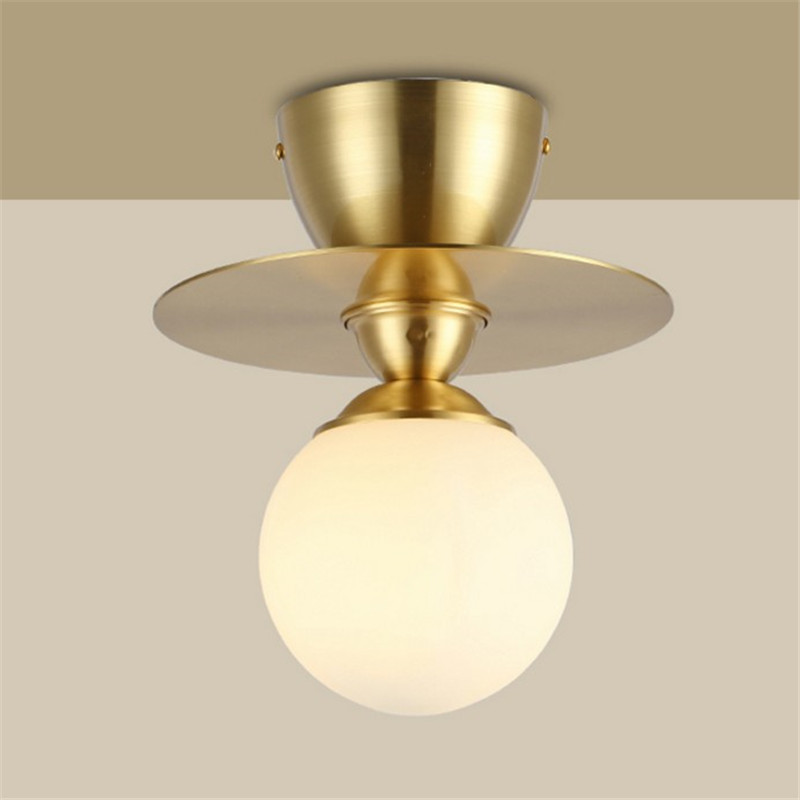 Simple LOFT iron brass ceiling light gold glass ball lamp corridor kitchen wall lighting fixture bedroom living room lamp led ceiling lamp european style lights iron glass ball lighting bedroom living room light fixture