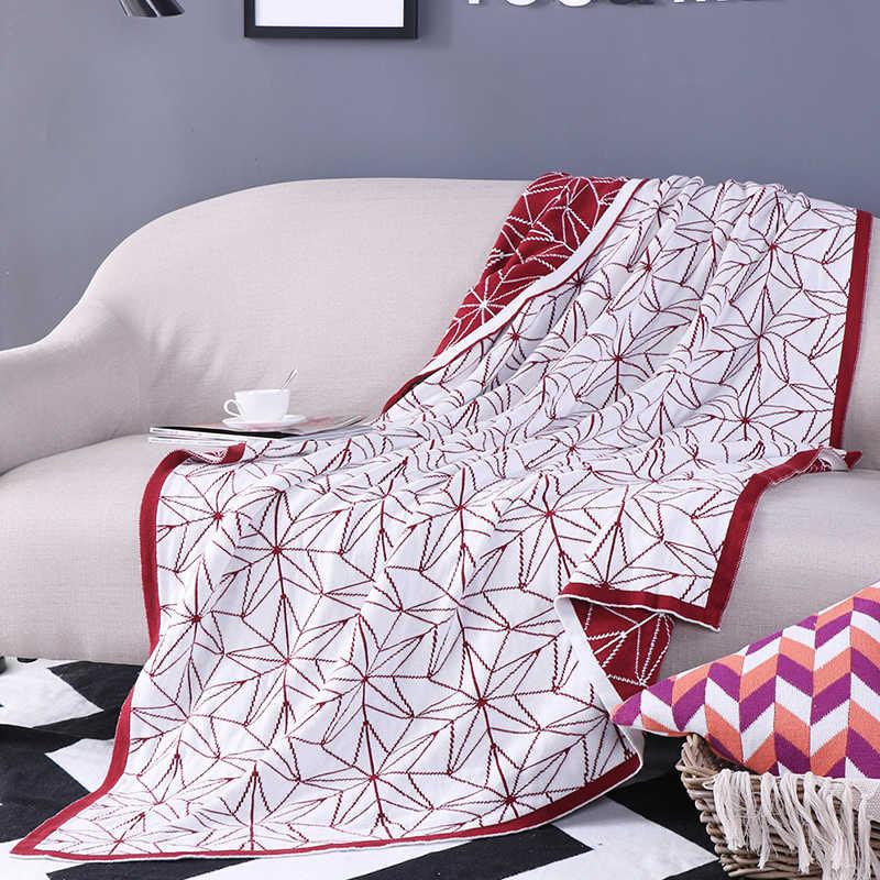 ホット120*160センチ100%コットンニット糸毛布赤スターポータブルタペストリーブランケットスロー上のソファベッドトラベルチェック模様分厚いニット毛布
