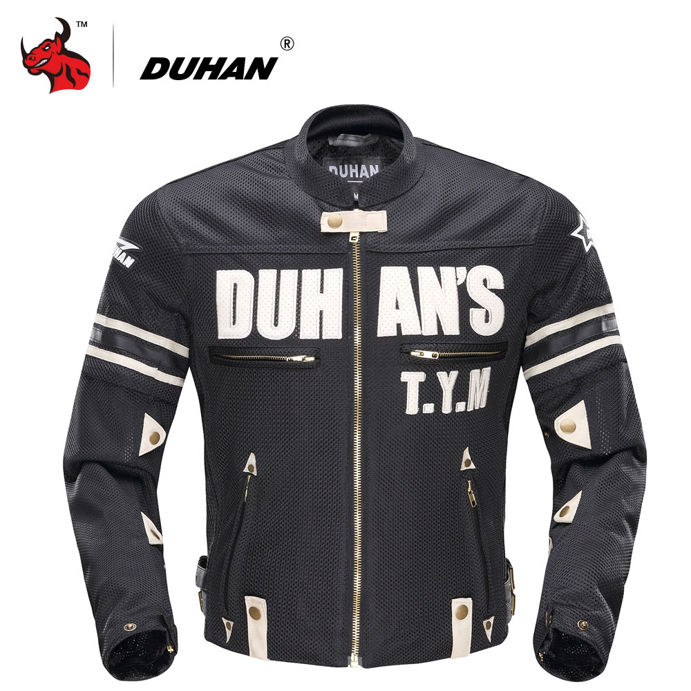 DUHAN Summer Men Motorcycle Jacket Mesh Motorcycle Textile Jacket Motorcycle Racing Jackets Protector Blouson Moto Black top good motorcycles mesh fabric jacket summer wear breathable hard protective overalls motorcycle clothing wy f607 green