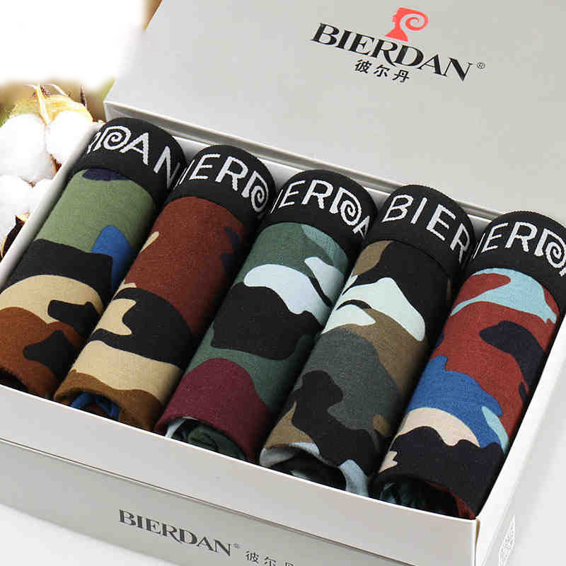 BIERDAN Mens mens Underwear Modal gay Shorts Plus Size Boxer Tide Men camouflage Boxer pour Homme Cueca Underpants male panties ...