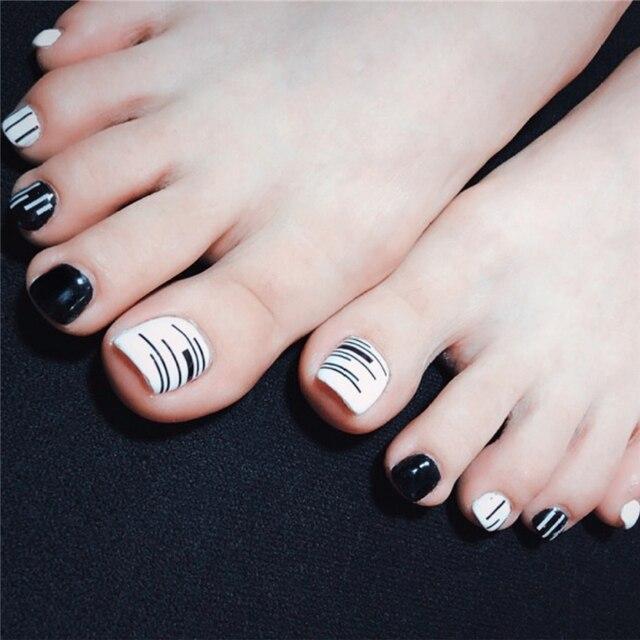 New Fashion Black Line Toe Nail Sticker Decal Water Transfer Sticker