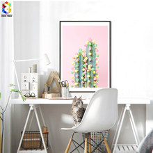d0355a5fa6c2 Donut Cactus In Bloom Posters and Prints Wall Art Nordic Girl Canvas  Painting Pictures For Living Room Scandinavian Home Decor