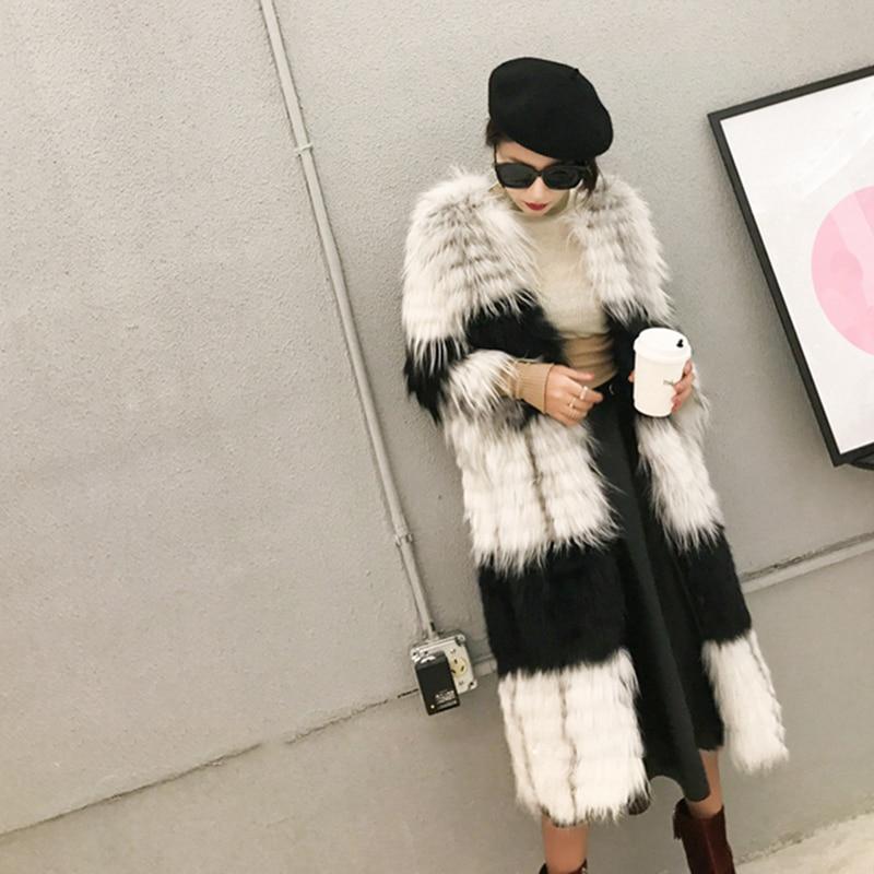 Marbre Lvchi cou De Couleur Mince Fourrure Classique Printemps X Renard Manteaux Perte Noir Importé D'o long 2018 Rayé Manteau Femmes Contraste wwrPqt