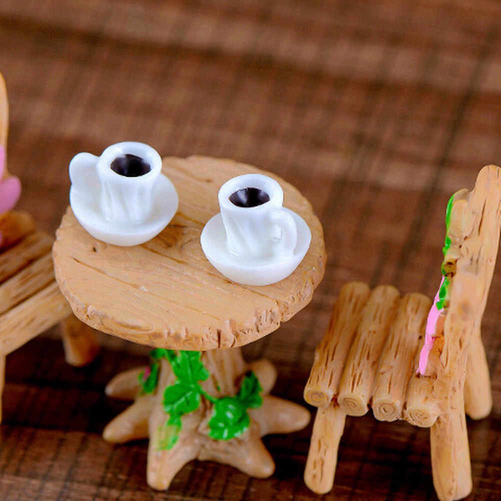 Mini copo de chá kawaii, 2 peças, modelo de chá, estatueta em miniatura, acessórios de decoração de jardim, decoração, artesanato, figura de plástico