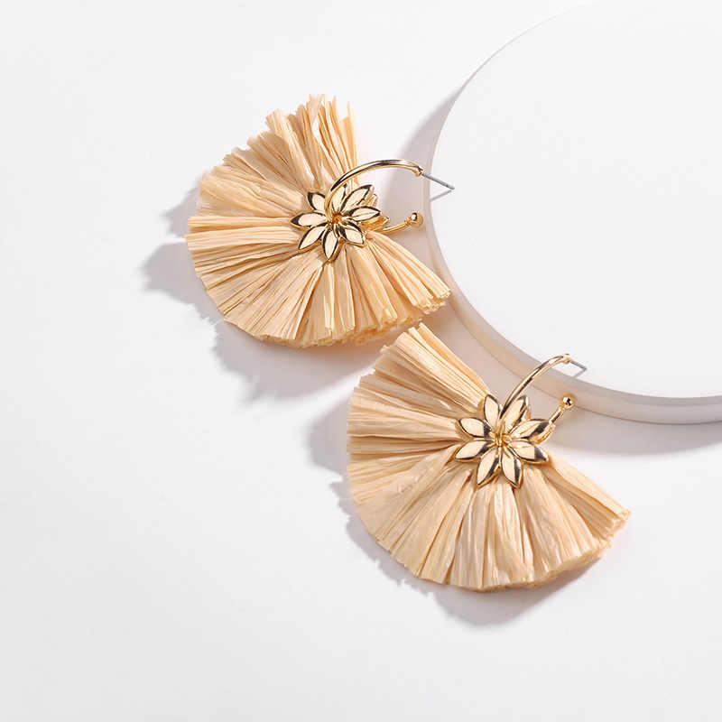 Vergoldung Daisy Floral BAST STROH Fan Fringe Quaste Drop Ohrringe für Frauen