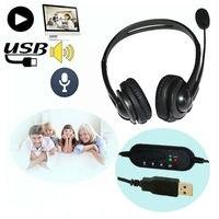 3 Adet Kulaklık Surround Stereo Kulaklık Kafa USB PC Oyun Için Mic Mikrofon Ile 2.0 Kulaklık Skype