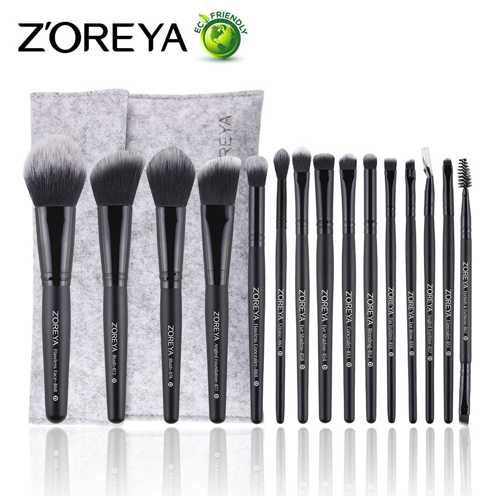 ZOREYA 15pcs Makeup Brushes Make Up Brushes Powder Eyebrow Foundation Blush Cosmetic Kits Pincel Maquiagem Professional Completa zoreya 9pcs professional portable makeup brushes sets kolinsky hair foundation powder blush make up brush cosmetic tools pinceis
