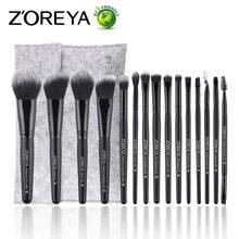 hot deal buy zoreya brand makeup brushes tools 15pcs make up brushes for professional makeup tools eyebrow foundation blush brush cosmetics