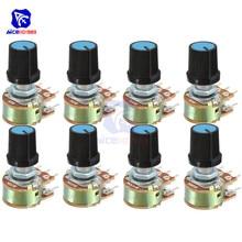 1 шт. WH148 потенциометр резистор 1K 2K 5K 10K 20K 50K 100K 500K 1MΩ 6Pin Линейный Конус поворотный потенциометр для Arduino с крышкой