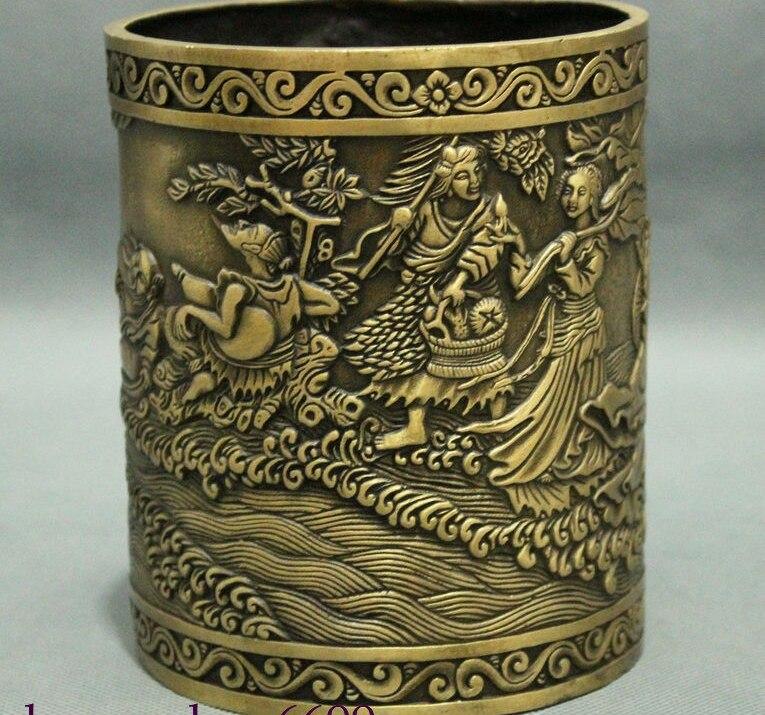 Marked Chinese Classic Myth Bronze 8 Immortal God Statue Brush Pot Pencil Vase
