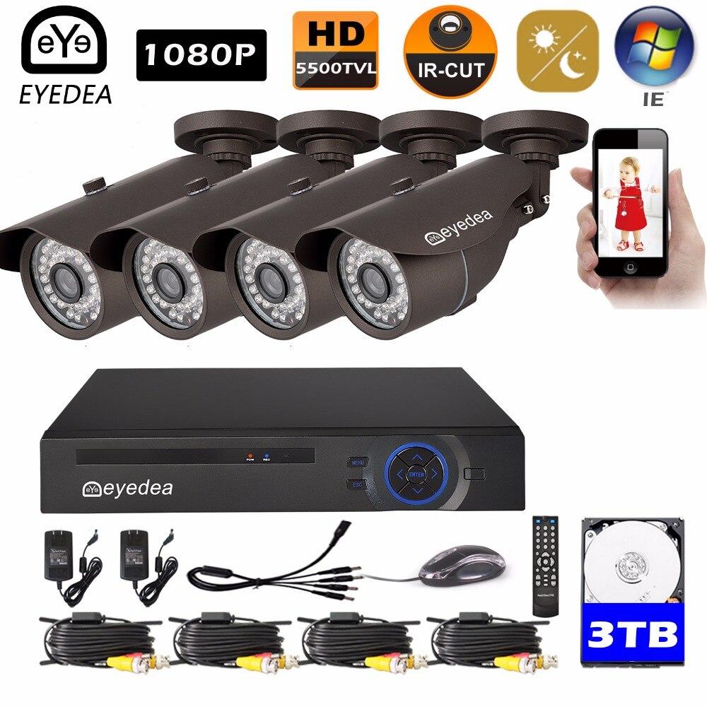 Eyedea 8 CH Surveillance DVR Recorder 1080P 2.0MP Black 5500TVL Outdoor Waterproof Night Vision CCTV Security Camera System 3TB