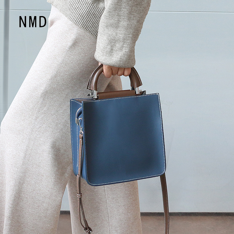 NMD New Fashion Real Cow Split Leather Small Square Bag Half Moon Metal With Leather Brand Leather Luxury Handbag For Women 2020