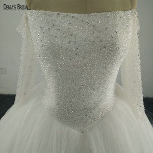 Image 3 - Vintage Off the Shoulder Boat Neck Bling Bling Beaded Long Sleeve Ball Gown Puffy Wedding Dresses